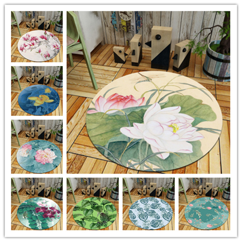 Flowers Plants Print Round Rugs Living Room Doormat Cartoon Carpets Door Floor Mat Bedroom Carpet Kid Room Decor Rug Yoga Mat