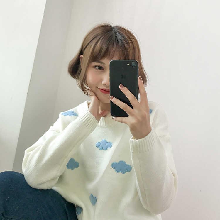 Женские корейские милые Пуловеры Свитера повседневные свободные с круглым вырезом и аппликацией облака качественные Джемперы Femme осень зима теплый базовый свитер