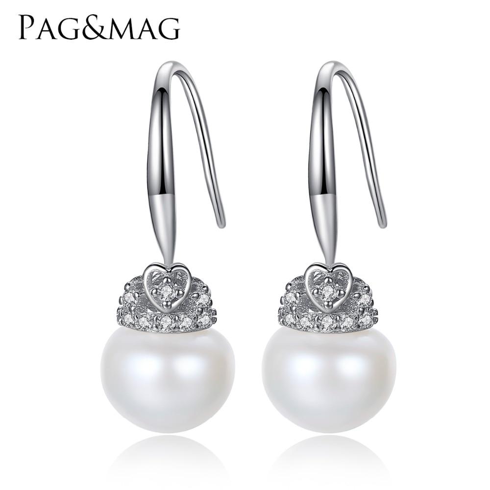 PAG & MAG Marke Crown Form Niedlich Silber 925 Schmuck AAAA 9-9.5mm Perle Natürliche Perle Ohrringe Geschenk für Mädchen Fabrik Großhandel