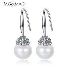 PAG&MAG Brand Crown Shape Cute silver 925 Jewelry AAAA 9-9.5mm Bead Natrual Pearl Earrings Gift for Girls Factory Wholesale