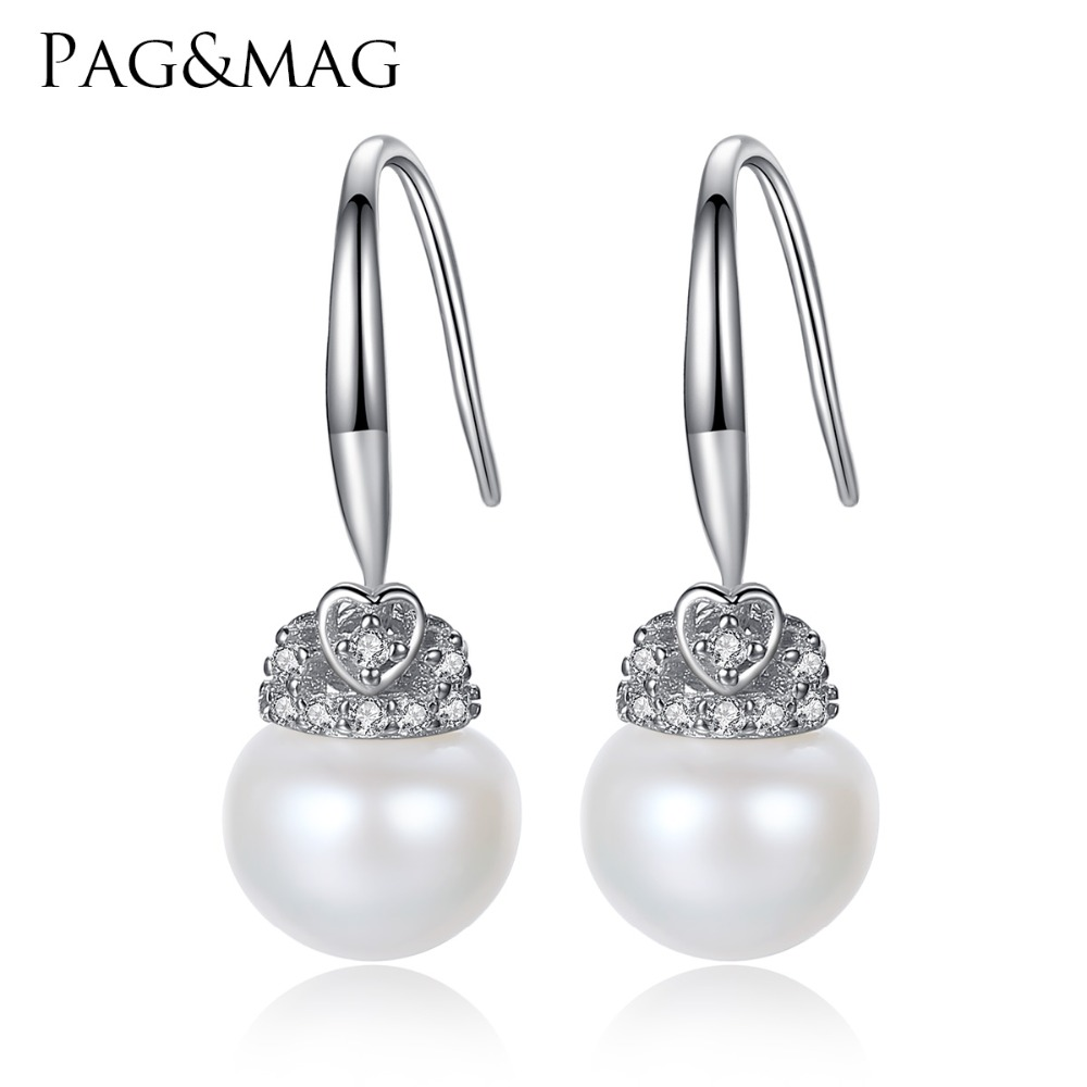 PAG&MAG Brand Crown Shape Cute silver 925 Jewelry AAAA 9-9.5mm Bead Natural Pearl Earrings Gift for Girls Factory Wholesale