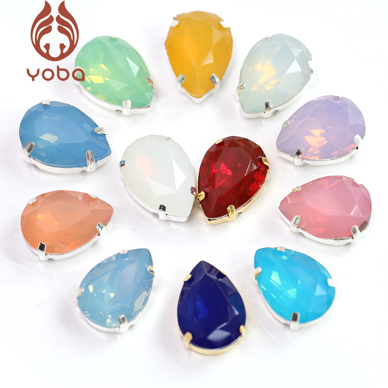 20pcs Resin Opal Colorful Sew On Rhinestones With Silver Claw Crystal Sewing Stones for DIY Clothes Accessories Dress K3021 image