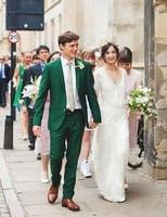 Custom Made Groomsmen Notch Lapel Groom Tuxedos Green Mens Suits Wedding Best Man (Jacket+Pants+Tie+Hankerchief) B812