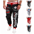 2016 New Men'S Casual Letters Loose Sweatpants Spell Color Printed Lace Trousers Joggers Men'S Pants XXXL