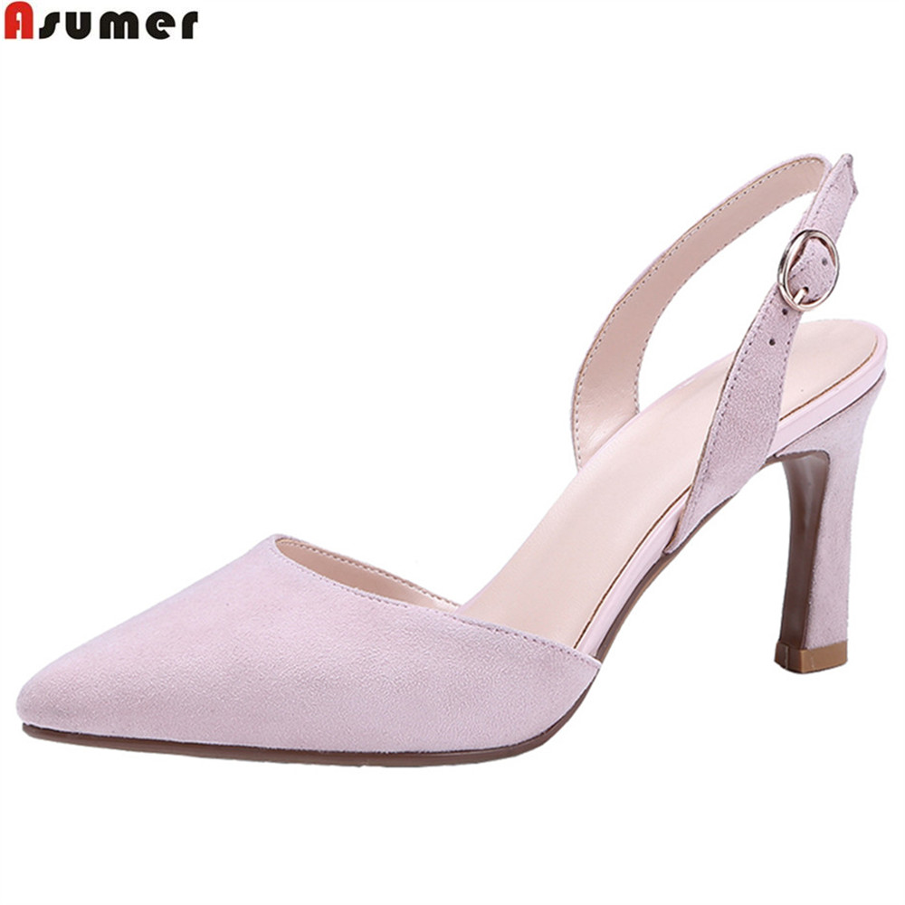 ASUMER black pink fashion ladies spring autumnn pumps shoes pointed toe buckle women suede leather high heels shoes new 2017 spring summer women shoes pointed toe high quality brand fashion womens flats ladies plus size 41 sweet flock t179