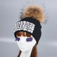 Women Girl Luxury Brand Winter Hat Cap Beanie Customized Design Clear Bead Rhinestone Beauty Woman Men