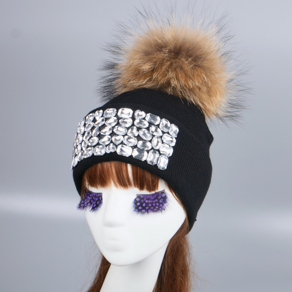 8fb86d1d843 women girl luxury brand winter hat cap beanie customized design clear bead  rhinestone beauty woman men