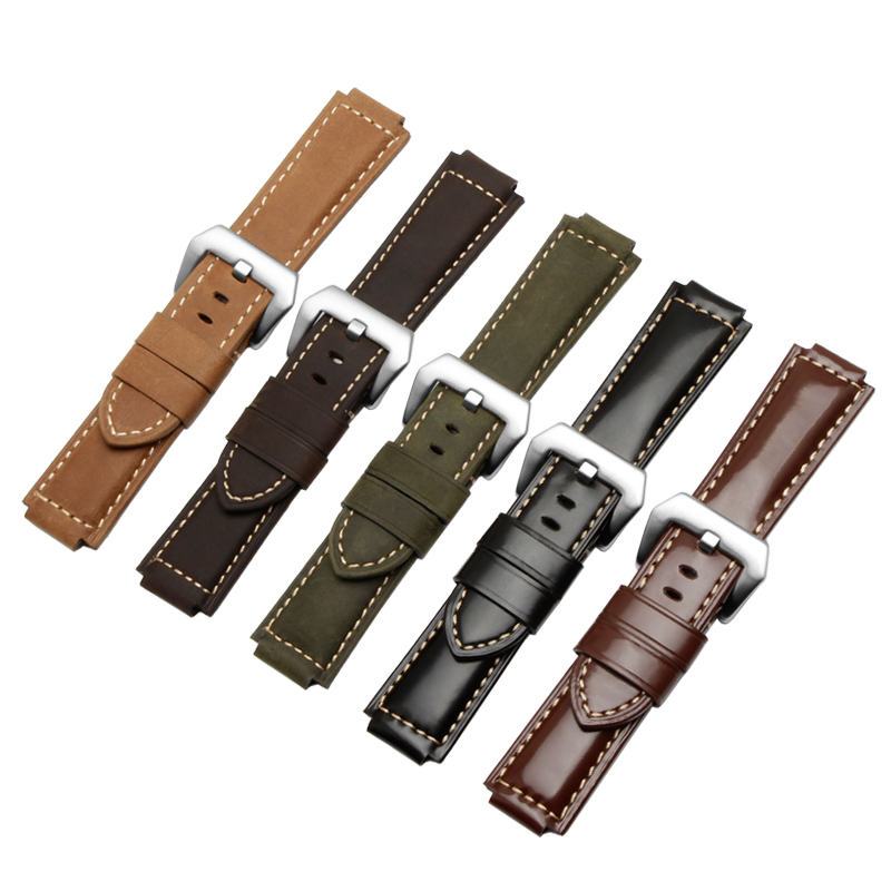 24*16mm genuine leather watch strap Smooth and Nubuck replacement strap adaptation Timex T2N739 T2N721 720