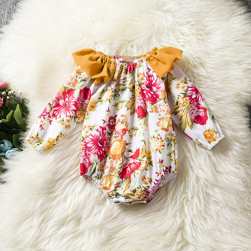 0-24Months Floral Baby Romper Ruffles Collar Cotton Long Sleeve Infant Romper Fashion Baby Girls Clothes