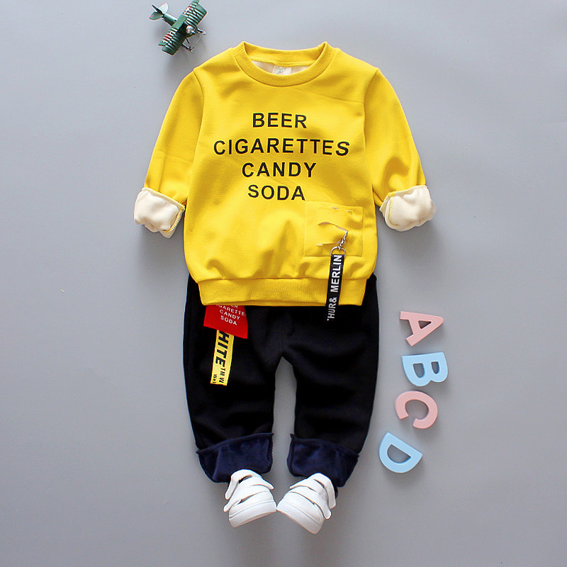 winter baby boy girl clothes 2017 new thicker warm cartoon clothing set baby Hoodies+pant 2 pcs for 0-4 year baby clothing cartoon boy girl design resin desktop decoration
