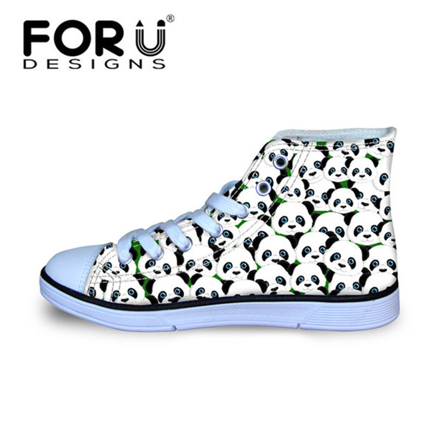 FORUDESIGNS Kids Flats Lovely Animal Panda Print High Top Canvas Shoes for Children Girls Boys Breathable Lace Up Sneakers Shoes