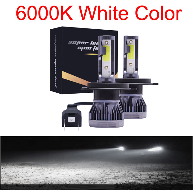 Мини H4 H7 светодиодный фар автомобиля Kit 6000K 3000K 8000K 72W фары для 12000LM H1 H11 9005 HB3 9006 HB4 H8 6000 К лампочки Автомобильные аксессуары - Испускаемый цвет: 6000K