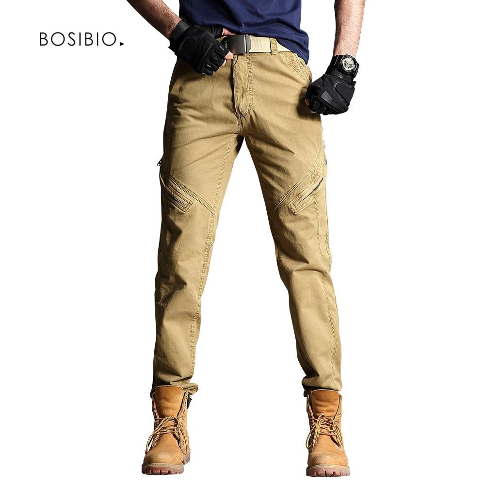 Bosibio Baumwolle Männer Cargo Hosen Khaki Hohe Qualität Frühjahr Männlichen Casual Hosen Slim Fit Hosen Mit Geneigten Taschen 3370 Clear-Cut-Textur