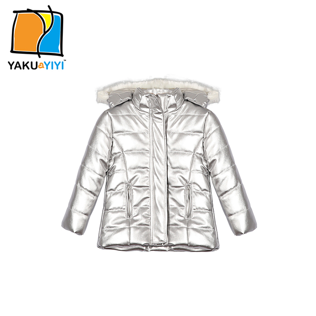 Ykyy yakuyiyi nueva luz de plata niñas outwear caliente con capucha bebé niñas prendas de abrigo y capa doble bolsillo muchachas de la capa de ropa
