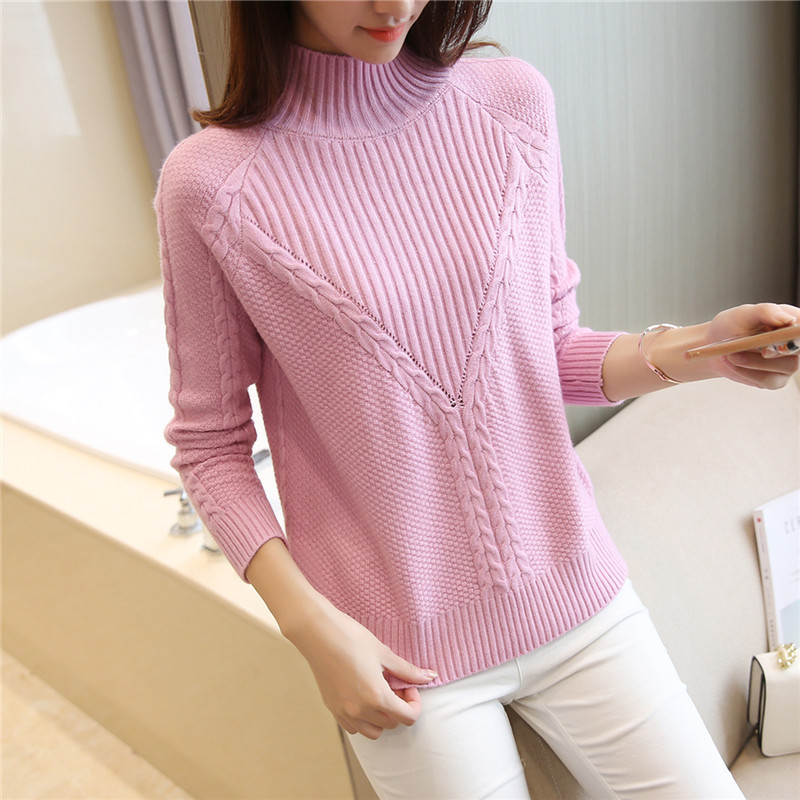 Turtleneck Women Sweaters And Pullovers Femme Tops Solid Color Warm Female Knitted Sweaters