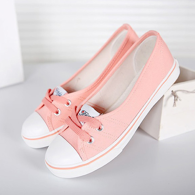 eba989c0bb2 New 2017 Spring and Summer Women Flats Canvas Shoes Womens Casual Shoes  Brand Slip on Breathable Pink Black White Hot Sale Y063