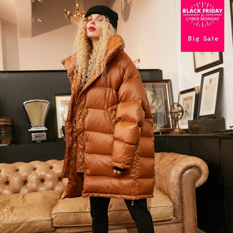 Winter new fashion brand white goose   down   jacket female high collar longer thicker warm goose   down     coat   wq609 very good quality