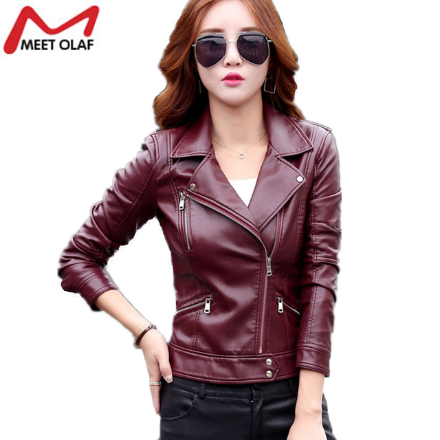 ab6667a85 US $54.24 |PU Leather Jackets Female Motorcycle Biker Soft Faux Leather  Coat New Women Zipper Bomber Jacket Long Sleeve Overcoat Top YL668-in  Leather ...