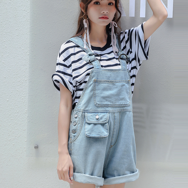7dd77f0abb24 2018 New Spring Summer Women Sleeveless Casual Baggy Shorts Denim Jeans  Jumpsuits Light Blue Slim Overall Playsuits Shorts Pants