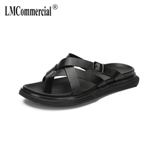 купить summer slippers men real leather fashion anti-skid soft soles beach slippers cowhide Flip Flops casual Shoes beach outdoor по цене 3186.29 рублей