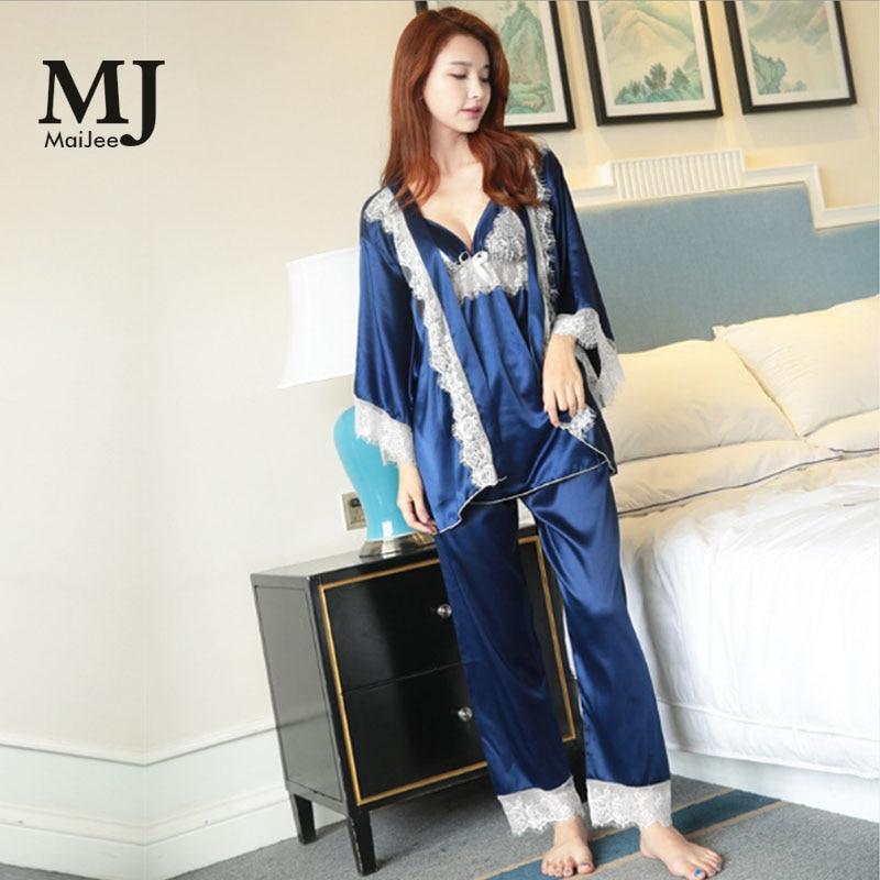 MJ080 4 Pic Silk Pajamas Sexy Lingerie Pijamas Women Lace Pizama Damska Pyjama Femme Pajamas Pijama Mujer Pigiama Donna Pizama