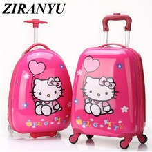 Brand hello kitty cartoon 18 inch students Travel trolley case children Boarding box anime girl luggage child rolling suitcase(China)