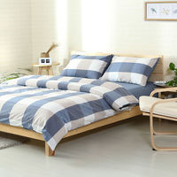 Fresh Style Light Blue Beige Stripes White Plaids Linens Duvet Cover Set Washed Cotton Queen Full