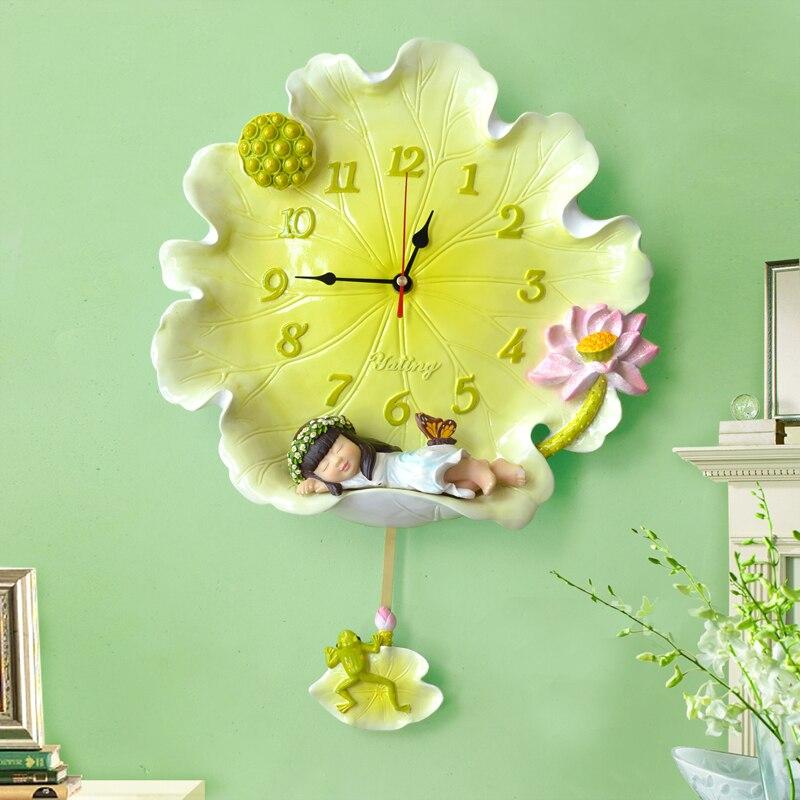 Пасторальные креативные настенные часы в виде листьев лотоса, ангела, украшения из смолы, ремесла для дома, бесшумные настенные часы, Мультя...
