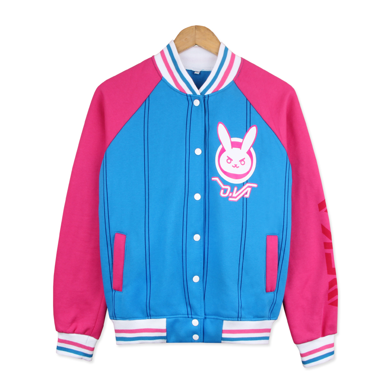 D.VA Cartoon Bunny Printed Baseball Uniform Cosplay Costume DVA Fashion Cute Jacket Daily Casual Hoodie