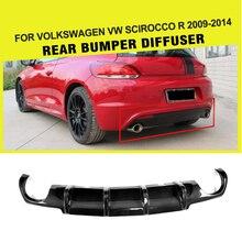 Автомобильный задний бампер из углеродного волокна диффузор спойлер для Volkswagen VW Scirocco R R20 бампер 2009- Черный FRP бампер Защита