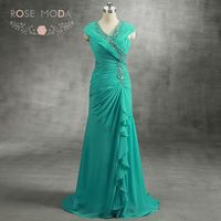Stunning V Neck Floor Length Emerald Green Mother of the Bride Dress Crystal Beaded V Back Chiffon Formal Dresses Real Photos