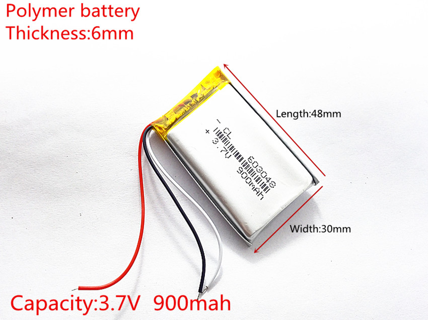 3 line 3.7V,900mAH,[603048] PLIB ( polymer lithium ion / Li-ion battery ) for dvr;mp5,GPS,mp3,mp4,cell phone,speaker