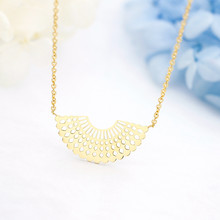Gold Silver Color Geometry Sector Charm Necklace Stainless Steel Chain Fan Jewelry Women Birthday Wedding Gift Bijoux(China)