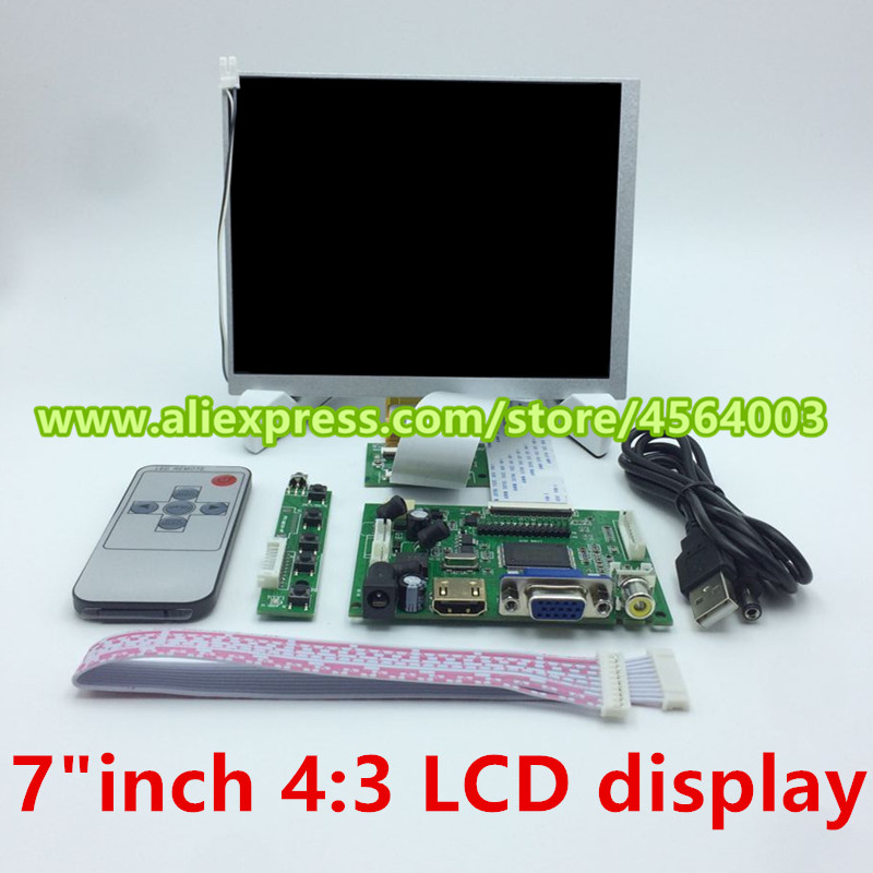 <font><b>7</b></font> inch for Raspberry pi PC TTL <font><b>800</b></font>*600 screen display CLAA070MA0ACW 4:<font><b>3</b></font> LCD Monitor driver board Audio controller HDMI VGA 2AV image