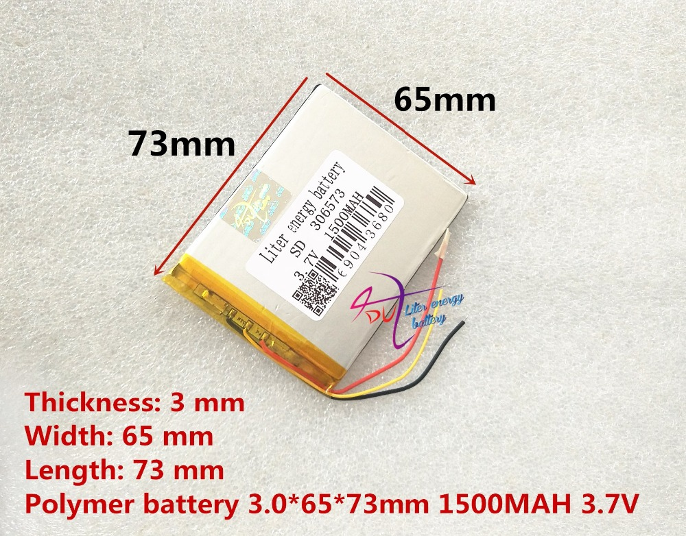 3 line 306573 3.7V 1500mAh Lithium Polymer LiPo cells power For PAD GPS Vedio Game E-Book Tablet PC Power Bank