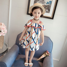 Casual Summer Girls Dress Geometric Pattern Strapless Word Fashion Beach Dresses Little Girl Clothing Kids Childrens