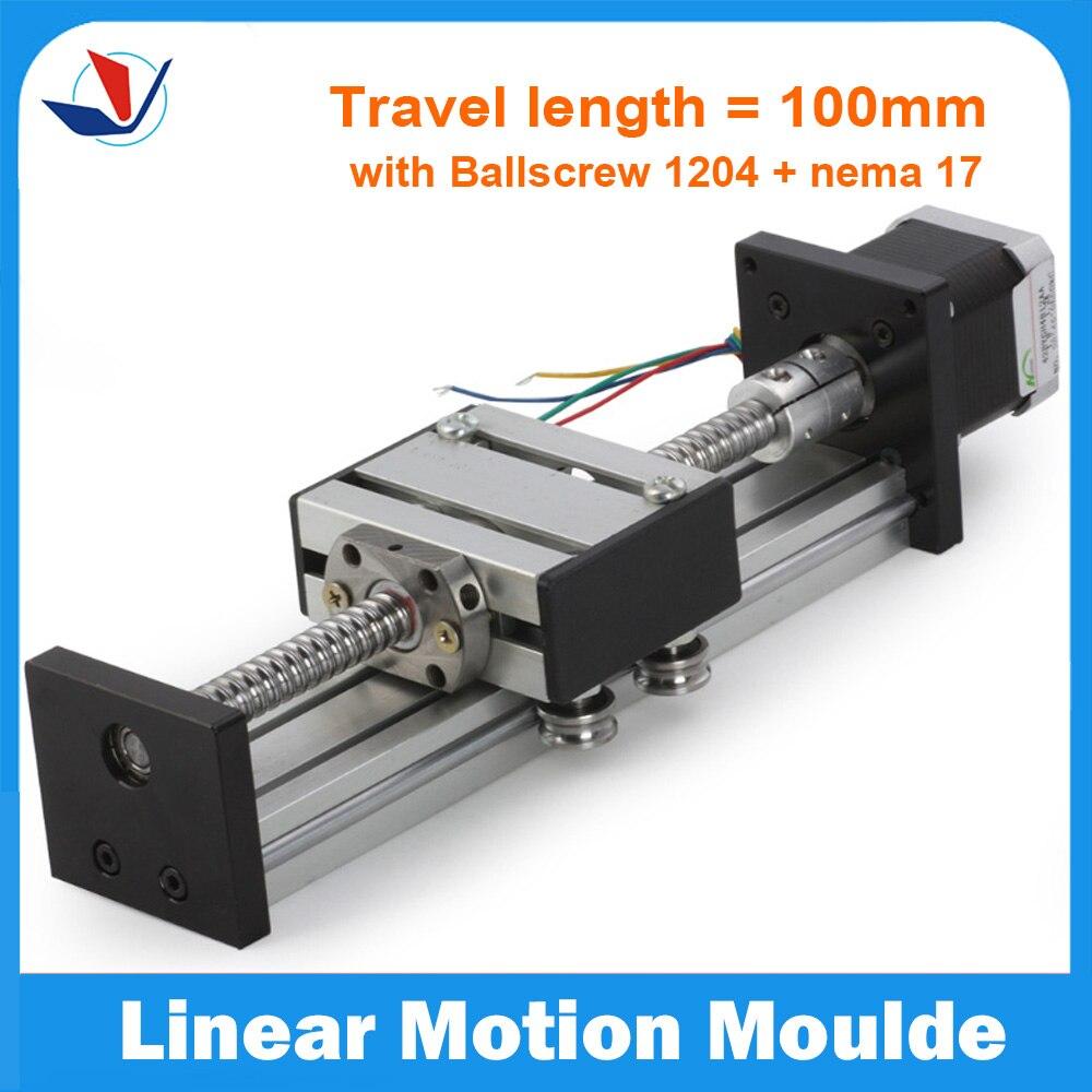ФОТО Linear Slide Stage Travel Length 100mm Linear Slide Table SFU1204+ Neme17 Stepping Motor For CNC