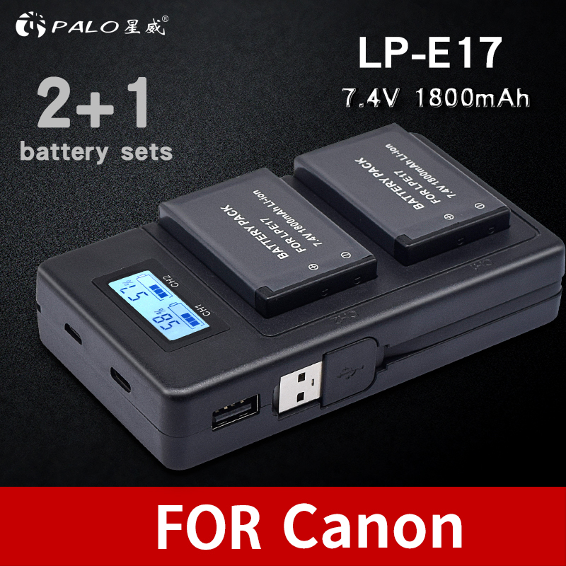 все цены на PALO 2Pcs LPE17 LP E17 LP-E17 camera Battery+LCD USB Dual Charger for Canon EOS M3 M6 200D 750D 800D 8000D 760D T6i T6s Kiss X8i