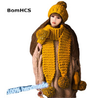 BomHCS Scarf Gloves Beanie 3PCS Lovely Women Girl Winter Warm Knit Crochet Handmade Hat Caps Mittens