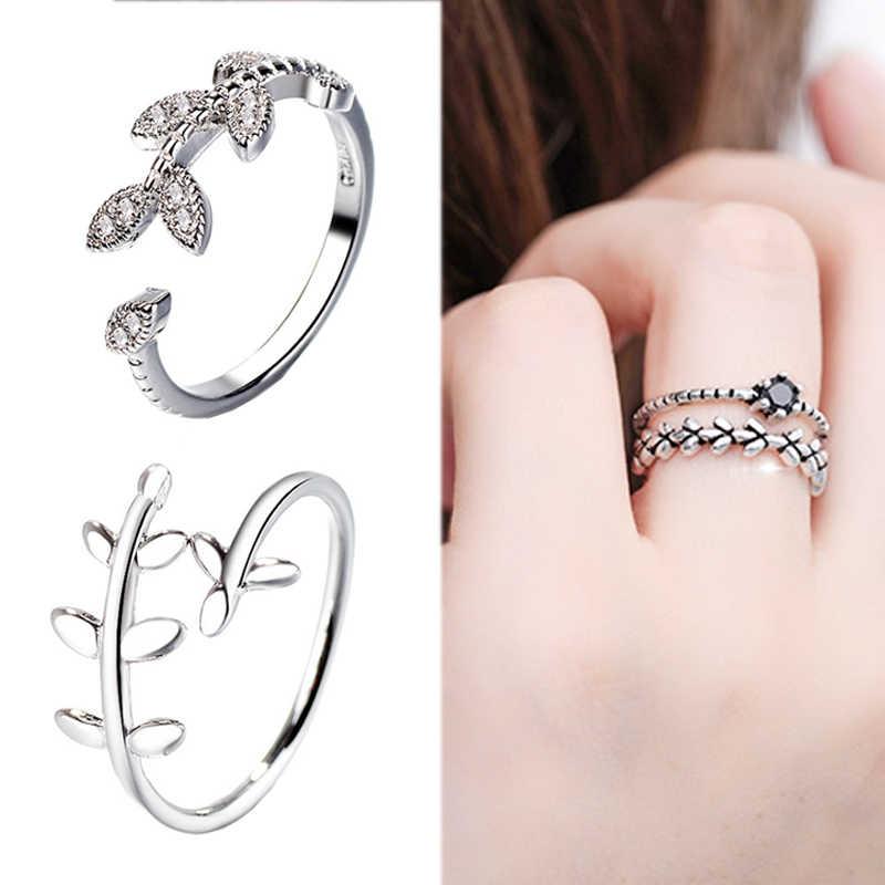 2018 חדש הגעה חינני ייחודי קריסטל פתוח מתכוונן טבעת כסף עלה 1 pc גברים נשים טבעת נישואים מתנות