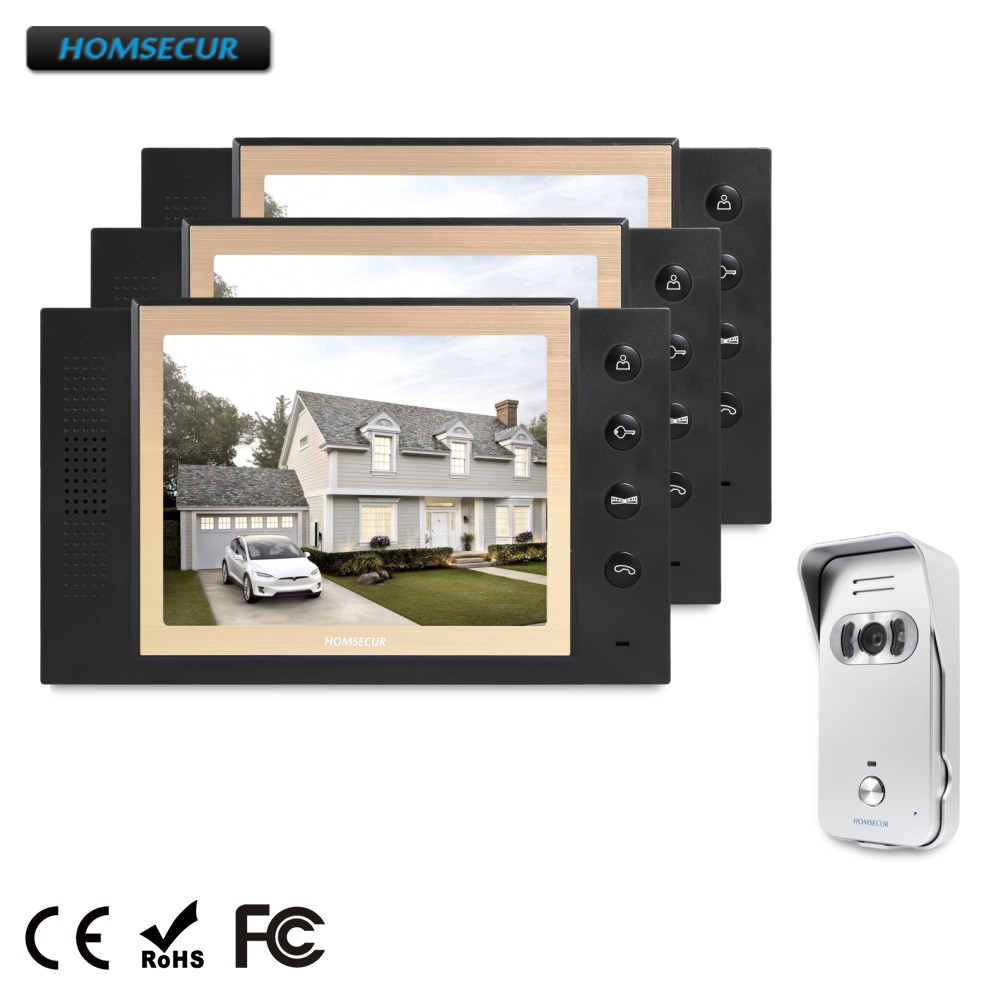 HOMSECUR 8 Wired Video Door Phone Intercom System+Silver Camera for House/Flat TC021-S + TM801-B