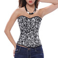 women sexy lingerie corset overbust pattern skull bodyshaper steel boned corsets and bustiers plus size corselet s-5xl 6xl