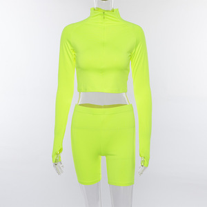 Image 5 - SheBlingBling Neon Fitness 2 Piece Set Women Clothing Set Long Sleeve Crop Tops Gym High Waist Shorts Cycling Set Female Outfits