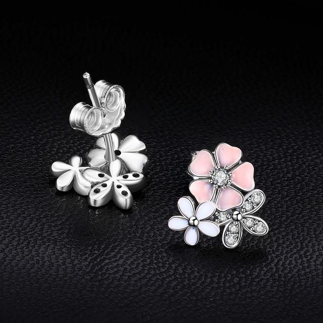Jewelrypalace 925 Sterling Silver Earrings Stud Earrings Enamel Magnolia Party Colorful Flower Cubic Zirconia Fine Jewelry