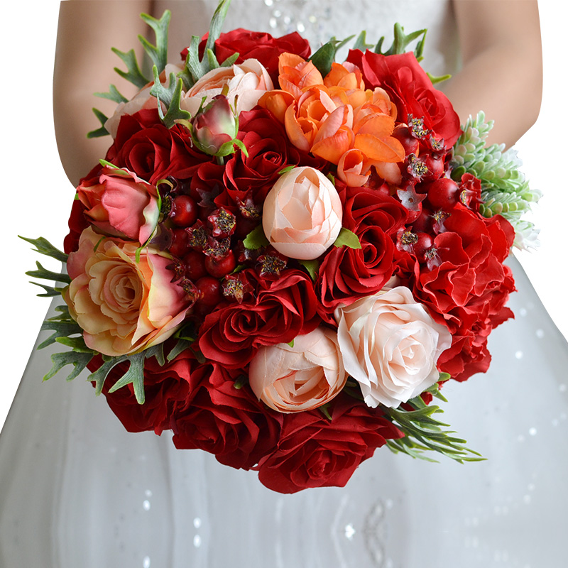 online buy wholesale red rose wedding bouquet from china red rose, Natural flower