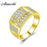 AINUOSHI Luxury 14K Solid Yellow Gold Wedding Male Band Cluster Ring Brilliant CZ Fine Wedding Engagement Gold Jewelry Men Ring
