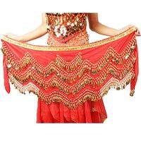 צבעוני חם חגורת המותניים ירכי חגורת צעיף מטבע זהב ריקודי בטן ביצועי ריקודי בטן גדול 320 מטבעות