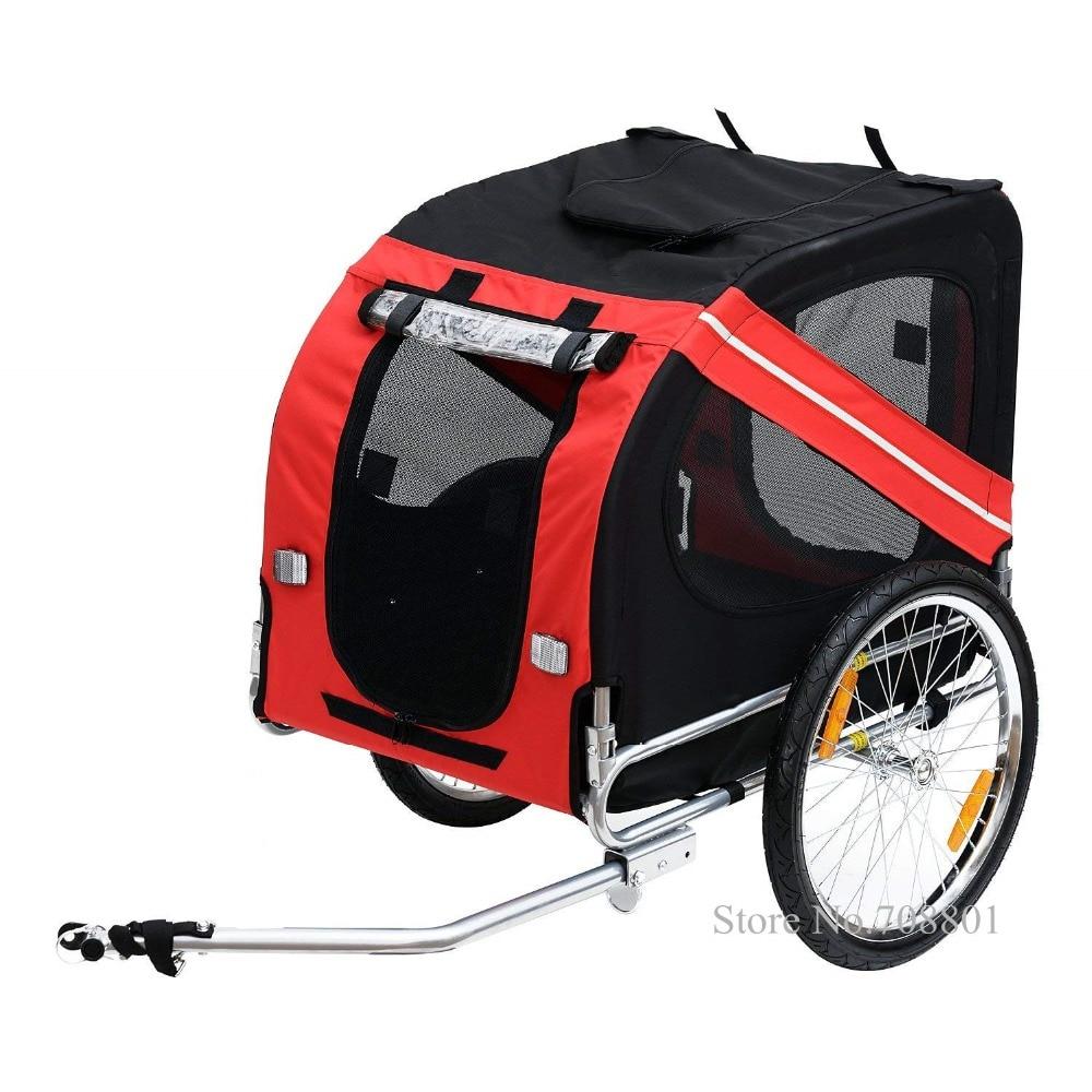 Remorque gonflable d'animal familier de roue de 20 pouces, transporteur en aluminium de chien de remorque de bicyclette de cadre, grande remorque de vélo pour des chiens, peut tenir 88lbs