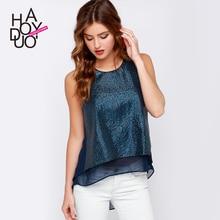 Women Chiffon Blouse Ruffle Top     clothes embroidered sequins stitching    – vest  split  Womens Blouses Vetement Femme Blusas