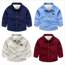 Winter Thicken Shirts For Boys Casual Cotton&wool Baby Fashion Cute  Long Sleeves Childrens Clothing 3-9years